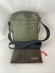 COACH Men's Green Leather F71723 Sullivan Smooth Leather Crossbody Message Bag