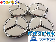 Mercedes Benz Center Caps Silver 4x 3 Inch/75mm Fits Most Models including AMG!