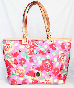 DOONEY & BOURKE Leisure Zipper Shopper Tote Pink w/ Red Roses Floral Print PVC
