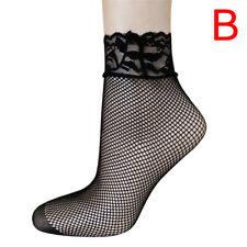 Soft Black Fishnet Mesh Lace Ruffle Socks Stockings Short Ankle 2018 Women GT