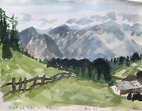 Karl Adser 1912-1995 Pause in den Alpen Almhütte Schweiz Österreich 1961