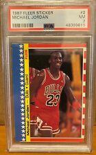 1987 Fleer Sticker MICHAEL JORDAN #2 Basketball Card PSA 7