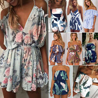 Sexy Women Boho Playsuit Jumpsuit Rompers Summer Beach Casual Mini Shorts Dress