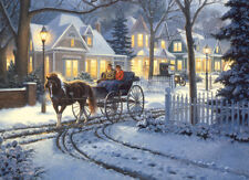 Jigsaw Puzzle Americana Horse Drawn Buggy Winterscape 1000 piece NEW Made in USA