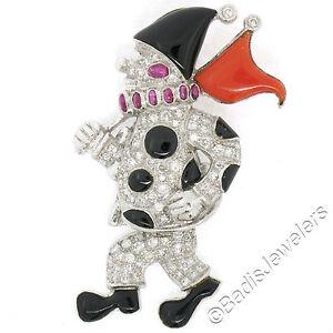 Vintage 18k White Gold Diamond Ruby Black Onyx & Coral Clown Mobile Pin Brooch