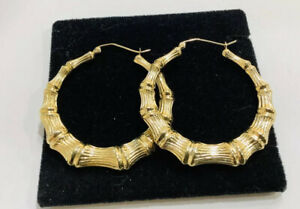 """14k Italian Gold Medium  Bamboo Hoops Earrings, 1 3/4"""""""