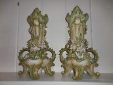 PAIR of Saxony Figural Porcelain Vases ART NOUVEAU Couple Romantic Matte Bisque