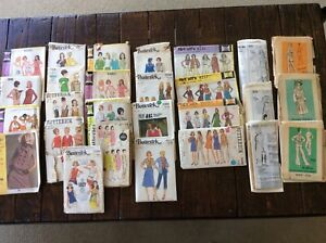 Lot of 27 vintage ladies 60's/70's sewing patterns. Complete. Various sizes