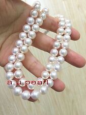"""long AAAAA 36""""9-10mm round REAL natural south sea white pearl necklace 14K gold"""