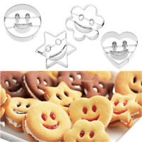 4Pcs Stainless Steel Emoji Biscuit Mold Smiling Face Cookie Cutter Decor Mould