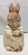 Vintage Bunny Rabbit Cookie Jar Mamma & Baby Boy Bunny Unmarked cl