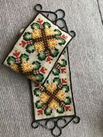 Vintage Swedish long wallhanging tapestry, yellow and red handembroidered motifs