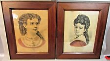 Lot of 2 Antique VICTORIAN Frames 'Mary' and 'Minnie' Currier Ives Print c1860s