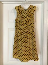 Bebop Juniors Mustard Yellow Navy Blue Polka Dot Cinched Waist Dress Small M