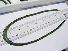 89.1 carats checkered cut beads 5x2mm MOLDAVITE necklace 18 inches $500+ retail