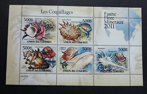 [SJ] Comoros Shells 2011 Seashell Marine Life Ocean Underwater (ms) MNH