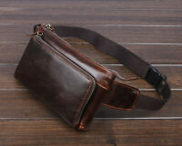 Men Oil Wax Genuine Leather Vintage Cell Phone Belt Fanny Pack Waist Purse  Bag