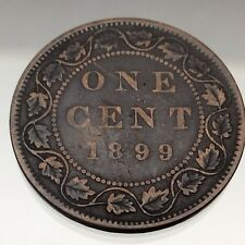 1899 C4 Canada One Cent 1 Penny Copper Circulated Large Penny Coin B256