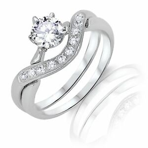 Brilliant Round Infinity Celtic Engagement Wedding Sterling Silver Ring Set
