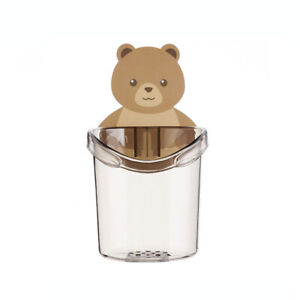 Bear Wall Mounted Toothbrush Holder Cup Punch Free Storage Rack Bathroom Supply