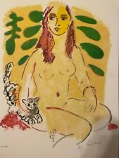 Ensrud Original Hand Signed Limited Edition Lithograph Lady With Cat