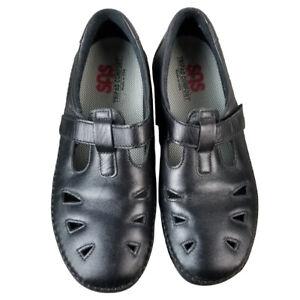 EUC SAS Women's Roamer Slip On Shoes Black Leather 8.5W Wide Width Adjustable