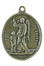 GUARDIAN ANGEL/ ST. JOSEPH Medal, bronze, cast from antique Portuguese original
