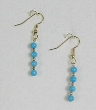 "EARRINGS 4mm BLUE HOWLITE BEADS (DYED)- 1 5/8"" -GOLD PLATED HYPOALLERGENIC HOOKS"