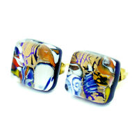 Murano Glass Stud Earrings Gold and Multi Coloured Square Handmade Venice