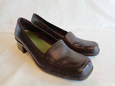 """AEROSOLES LOAFER Womens Size 8 M Brown Leather 1.5"""" High Block Heel"""