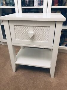 Next White Bedside Table With Heart Draw Pull