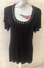 M&Co Black Silver Stud Detail T-Shirt Top Size 16