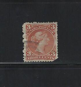 CANADA - #25 - 3c LARGE QUEEN VICTORIA USED STAMP (1868)