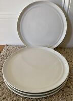 "Crate & Barrel HUE WHITE by Aaron Probyn 10 1/2"" Dinner Plates Set of 4"