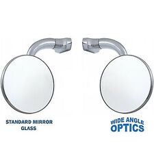 "3"" Chrome CONVEX Curved Arm Peep Side Door Glass Mirror Outside Rear View Pair"