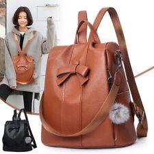 Fashion Women Backpack Travel Shoulder Bag Ladies PU Leather Rucksack Free Gift
