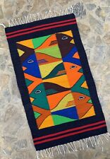 """New Zapotec Oaxacan 23""""x40"""" Hand Woven Fish Wall Wool Tapestry Rug"""