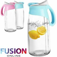 Water Juice Jug Pitcher Bottle With Lid Glass Fridge Kitchen Home Picnic 1.3 Ltr