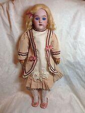 "Antique Heinrich Handwerk Simon Halbig Doll, Santa Doll Sister, Blue Eyes, 19"""