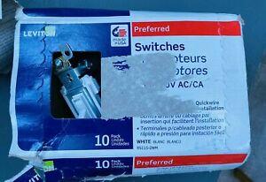 Pack Of 10 Leviton Preferred White Light Switches 15A-120V