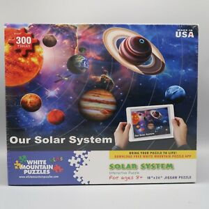 """White Mountain Puzzles Our Solar System 300 Pcs Interactive Puzzle 18""""X24"""" New"""