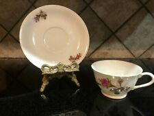 Made In Japan China Moss Rose Pattern Teacup and Saucer Tableware Pink Gold