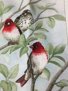 "Fabric Bird Quilt Square 4.75"" x 6"" Cotton 2 Red Speck Birds ELIZABETH Qty 1"