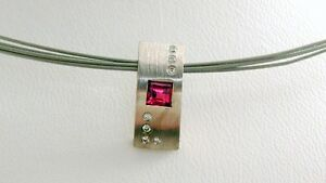 18k White Gold pendant Stainless Steel necklace Genuine Ruby Diamond #641