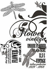 Dragonfly Lavendar Collection 3 Clear Unmounted Rubber Stamp Set Kaisercraft NEW