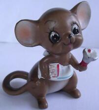Josef Original Mice Mouse Figurine w/ School Bell Teacher Vintage 1960's