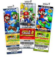SUPER MARIO BROS BIRTHDAY PARTY INVITATION TICKET BROTHERS PERSONALIZED 1ST -C10