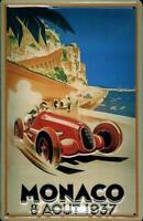 Monaco 1937 Blechschild Schild 3D geprägt gewölbt Metal Tin Sign 20 x 30 cm
