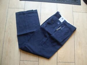 M & S MENS PURE COTTON REGULAR FIT CHINOS - W34 L33 - NAVY - ACTIVE WAIST - BNWT