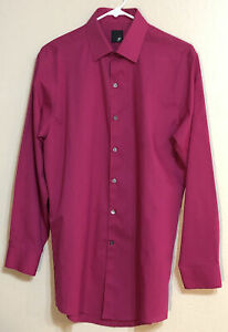 J. Ferrar Dress Shirt Mens 15-15-1/2/M Dark Pink 32-33 Sleeve Slim Fit